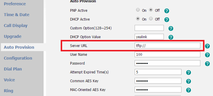 Yealink Gui Server URL auto provision goes blank after auto