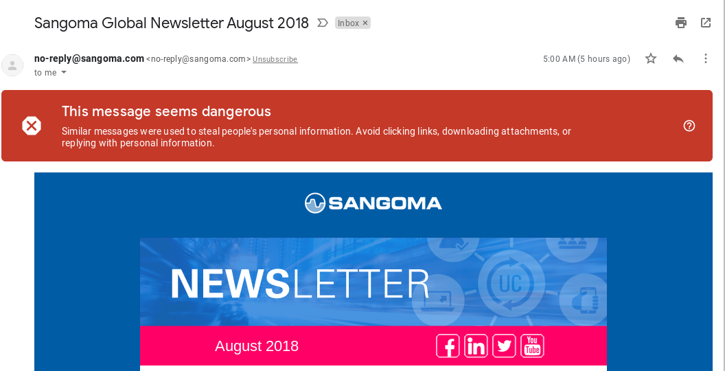 Sangoma marketing email marked phishing by Gmail - Website
