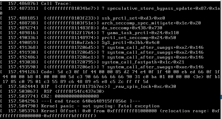 SSH into server results in Kernel Panic after yum update to