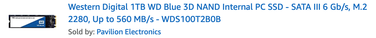 WD 1TB Blue 3D NAND Internal PC SSD - SATA III 6 Gb/s, M.2 2280 WDS100T2B0B