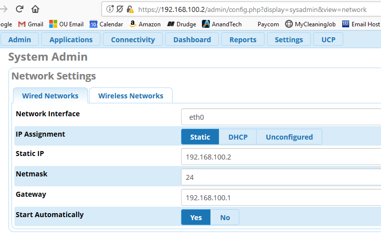Two IP Addresses Configured? - General Help - FreePBX